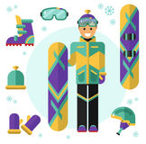 Snowboarder  with equipment. Flat design vector illustration of snowboarding equipment. Smiling happy snowboarder with board. Including icons of helmet, googles Royalty Free Stock Photography