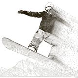 Snowboarder extreme. Jumping and flight by air. Snowboard tricks. Mountains ranges. Spiky mountain landscape. Extreme. Sport, adventure travel and tourism Stock Photo