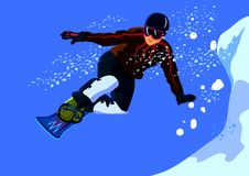 Snowboarder extreme jumps from a steep slope. Snowboarder extreme sports in the mountains on a steep slope Royalty Free Stock Photography