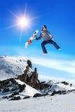Snowboarder felice Fotografia Stock