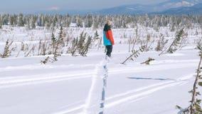 Snowboarder feliz que tem a snowboarding do divertimento backcountry em um dia de inverno ensolarado em montanhas nevado indivídu video estoque