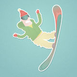 Snowboarder flying against. Paper cutout Royalty Free Stock Images