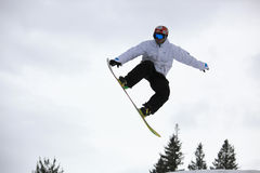 Snowboarder flying over the fir trees Royalty Free Stock Image