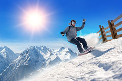 Snowboarder freerider Stock Images