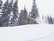 Snowboarder freerider w skoku Obrazy Royalty Free