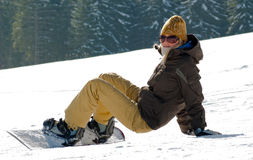 Snowboarder-girl Royalty Free Stock Images