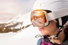 Snowboarder girl at Arhiz, Caucasian mountain. Royalty Free Stock Images