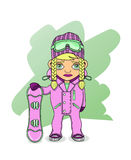 Snowboarder. Girl athlete holding a snowboard Royalty Free Stock Photos