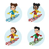 Snowboarder girls cartoon Stock Photo