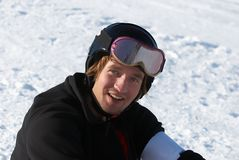 Snowboarder in helmet portrait Stock Photo