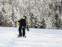 Snowboarder in het bos Stock Foto's
