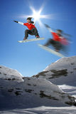 Snowboarder in high mountain Royalty Free Stock Images