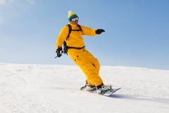 Snowboarder in high mountains Royalty Free Stock Photo