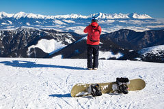 Snowboarder on the hill Royalty Free Stock Image