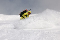 Snowboarder on the hill royalty free stock photo