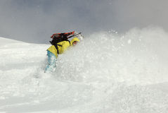 Snowboarder on the hill stock image