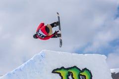 Snowboarder HINATA die TSUJI JPN aan de Totale Strijd 2019 Grandvalira Andorra deelnemen stock foto