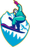 Snowboarder Holding Snowboard Alps Retro. Illustration of a snowboarding jumping on snowboard pointing forward set inside crest shield with mountain alps and Stock Image