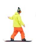 Snowboarder i uppgift Fotografering för Bildbyråer