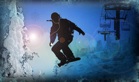 Snowboarder Illustration. A snowboarder illustration in a mountain scene Royalty Free Stock Photos