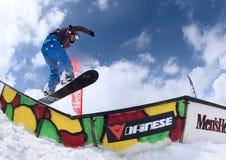 Snowboarder im Park Lizenzfreies Stockfoto