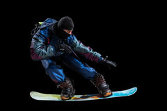 Snowboarder isolated on black Royalty Free Stock Photography