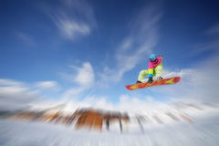 Snowboarder jump. Image of snowboarder jumping in Alpe d' Huez, France Stock Photos