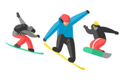 Snowboarder jump in different pose people vector. Stock Image