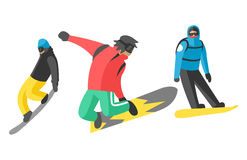 Snowboarder jump in different pose people vector. Royalty Free Stock Image