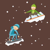 Snowboarder jump in different pose vector. Royalty Free Stock Image