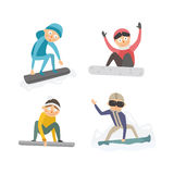 Snowboarder jump in different pose vector. Stock Photos