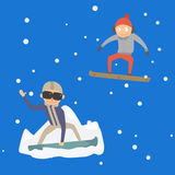 Snowboarder jump in different pose vector. Stock Images