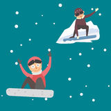 Snowboarder jump in different pose vector. Stock Photography