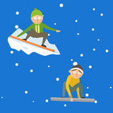 Snowboarder jump in different pose vector. Stock Image