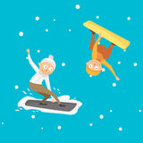 Snowboarder jump in different pose vector. Royalty Free Stock Photo