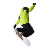 Snowboarder at jump isolated Stock Images