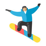 Snowboarder jump in pose people vector. Stock Photography