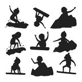 Snowboarder jump silhouette in different pose vector. Royalty Free Stock Photography