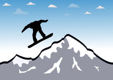 Snowboarder jumping Royalty Free Stock Images