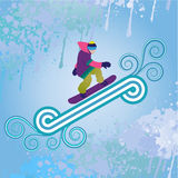 Snowboarder jumping. Through air, vector illustration Royalty Free Stock Image