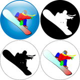 Snowboarder-jumping Royalty Free Stock Photos