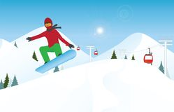 Snowboarder jumping through air against blue sky. Stock Photography