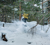 Snowboarder jumping in the forest. Snowboarder jumping over the snow-covered stone on the background forest. Low angle view Stock Image