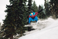 Snowboarder is jumping and freeriding in the mountain forest. Snowboarder with snowboard is jumping very high and freeriding from hill in the mountain forest Royalty Free Stock Photography