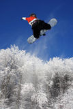 Snowboarder is jumping over the forest Stock Image