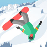 Snowboarder jumping pose on winter outdoor Royalty Free Stock Photo