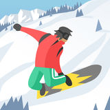 Snowboarder jumping pose on winter outdoor Royalty Free Stock Photography
