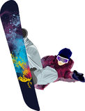Snowboarder jumping pose winter people tricks Stock Photos