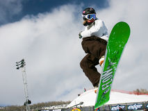 Snowboarder jumping. Royalty Free Stock Images