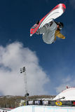 Snowboarder jumping. Royalty Free Stock Photography